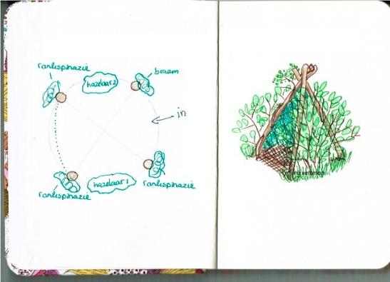 Het uiteindelijke ontwerp (fragment uit mijn tekenblok)