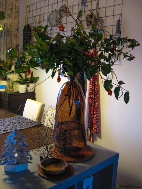 Kerst boeket takken tuin