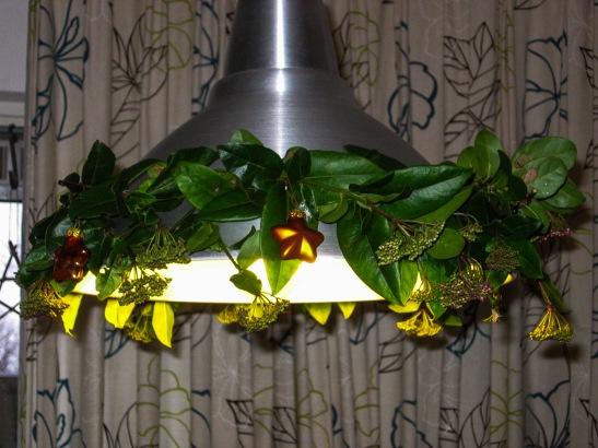 kerst versiering lamp tuin takken